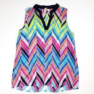 Francescas Rainbow Chevron Sleeveless Top S Sheer